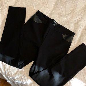 DKNY Black Leggings with leather pocket trim